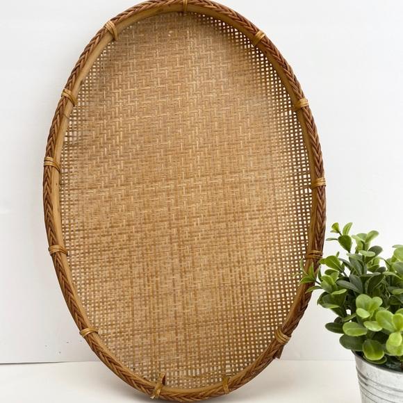 Vintage Oval Wicker Rattan Basket Tray Wall Art